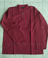 Medieval Shirt Burgundy + Button Neck Cosplay Colonial Pirate Ren Fair 3 Sizes