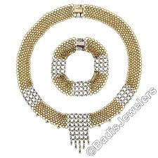Vintage 18k Gold Twisted Wire Mesh 3.66ctw Round Diamond Necklace & Bracelet Set