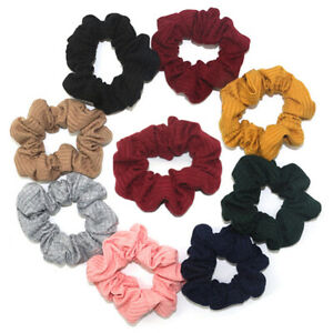 Women New Big Cotton Ribbed Scrunchies Hair Ties Simple Solid Hair Accessories