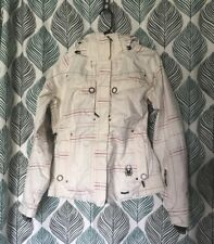 Spyder Women's Ski Snowboard Hooded Coat Jacket Cream Plaid Size Medium