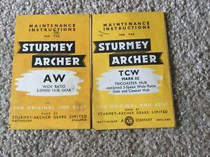 Sturmey Archer AW & TCW Hub Gears Maintenance nce Booklets original 50,s