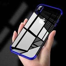Funda carcasa iPhone X Hybrid  transparente y felxible proteccion camara Azul