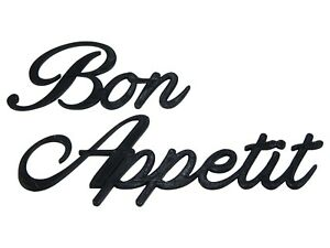 Bon Appetit Word Art Sign Decal Kitchen Wall Hanging Cursive Script Typography