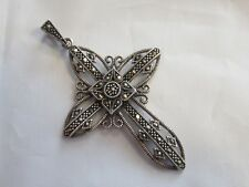 Sterling Silver And Marcasite Religious Cross Pendant