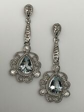 10k White Gold PEAR Aquamarine and Diamond Earrings