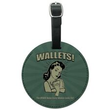 Wallets Other Bulge Woman Looks For Round Leather Luggage Card ID Tag