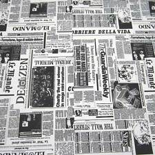 Fabric By the Metre Newspaper Black White Press Clothing Easy Care Metre Price