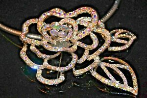 New Rose Rhinestone Necklace ~ combined as a Broach to trim your evening outfits