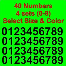 """0-9 Numbers Vinyl Sticker Decals - Set of 40 - Select Color & Size 1/2"""" thru 4"""""""