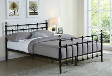 Double King Size Black Metal Bed Frame with Chrome Balls and Mattress 4FT6 5FT