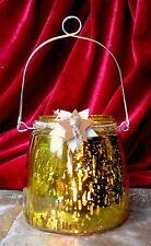 ❀ Windlicht Trend Bauernsilber Gold 12cm - Teelichthalter Glas Laterne A #181