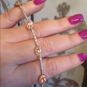 solid 14k White rose gold Kunzite bracelet
