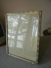 Vintage Art Deco brass easel picture frame w/balled feet 8x10 CHEVRON PATTERN