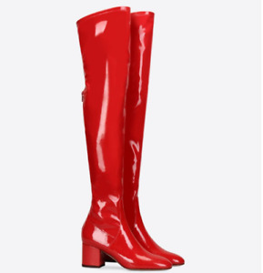 Womens Patent Leather Over The Knee High Boots Low Heels Cocktail Party Shoes 44