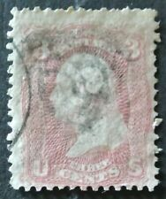 USA 1861-62 3c #64b Rose Pink F-VF with light Fancy Cancel ID Weiss cat.$150
