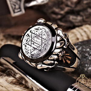 Secret Seal of King Solomon Signet Ring Star Of David Vintage Custom Sign Amulet