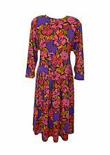 WOMEN'S/LADIES 1980'S VINTAGE CLOTHES, FLORAL DAY DRESS, CASUAL, 14