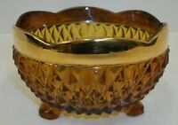 Vtg Indiana Glass Amber Diamond Point 3-Footed Bowl Dish Scalloped Gold Trim