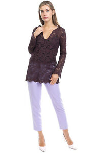 RRP €175 PINK MEMORIES Lace Top Blouse Size 42 M Floral Scalloped Made in Italy