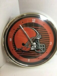 Cleveland Browns Round Wall Clock - NFL Football Helmet Logo Prime Time Browns