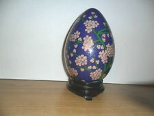 "ANTHENTIC 9"" CLOISONNE ENAMEL EGG  BRASS PINK FLOWERS and BLUE Bird"