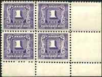 Canada #J6 mint VF OG NH 1930-1932 Second Postage Due 1c dark violet LR Block 4