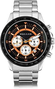 Holler Men's Quartz Watch with Orange Dial Analogue Display and Silver Stainless