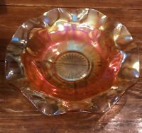 "12"" Large Marigold/Pink Highlight Carnival Glass Ruffled Edge Bowl"