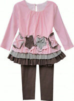 Isobella & Chloe Sweet Pea Pink & Brown 2 piece Set, Sizes 2-6X