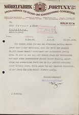 "Berlín tan 36, carta 1932, muebles-fábrica ""fortuna"" GmbH"