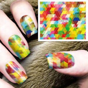 Multi color Geometric Nail Art Sticker Decal Decoration Manicure Water Transfer