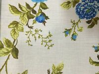 White Blue Rose Flower Print Poly Cotton Fabric - Sold By The Yard - 59""