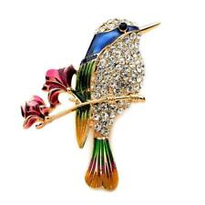 "CUTE HUMMINGBIRD PIN 1.75"" Gold Blue Green Enamel Brooch Rhinestone Song Bird"