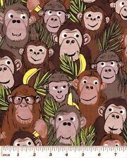 Fat Quarter Monkey Business Cotton Quilting Fabric  Benartex