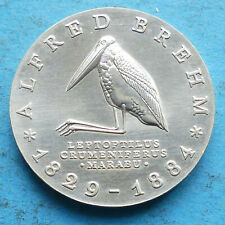 ! DDR GDR Silber 10 Mark 1984 vz+ xf+ Alfred Brehm Marabu wildlife RR