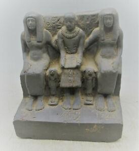 SCARCE CIRCA 300BCE ANCIENT EGYPTIAN GLAZED BLACK STONE STATUETTE 3 RULERS