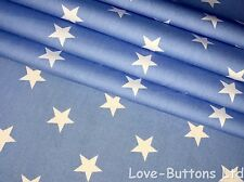 PRETTY ROSE & HUBBLE BLUE AND WHITE STAR PRINT FABRIC 100% COTTON HALF METRES