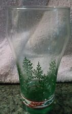 """New listing Coca Cola Pine Tree glass cup tumbler 6"""" snow flakes holidays green Coke"""