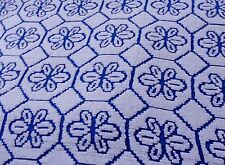 CHENILLE Vintage Bedspread White FULL Floral Cotton BLUE Flowers Size VTG Bed