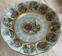 1909 ROYAL VIENNA AUSTRIA COMPOTE, NICE HAND PAINTED COUPLES COURTING PATTERN