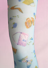 Turquoise / Sky Blue OPAQUE Over Knee Socks. Handbag pattern. Kitsch, summer