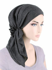 The Bella Scarf Pre-Tied Chemo Cancer Turban Blended Knit Charcoal Gray