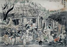 SOLDATS MILITAIRE FERME CAMP MEIJI ukiyo-e ESTAMPE JAPONAISE japan woodblock