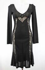 Dolce & Gabbana Black Lace Insert Long Sleeve Sheer Fabric Dress Size 42/8