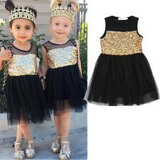 Kid Girls Princess Sequins Dress Toddler Baby Wedding Fancy Party Tutu Dresses