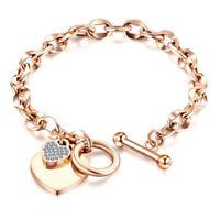 Women's Jewelry Love Heart Rose Gold Stainless Steel Charm Wrist Chain Bracelets