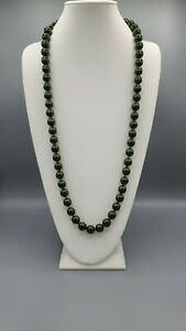 """JOAN RIVERS GOLD EP HAND KNOTTED 10mm GREEN CZECH GLASS BEAD 30"""" NECKLACE"""