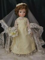 Vintage Porcelain wedding Bride Woman Doll OOAK detailed pearls lace