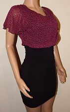 VICKY MARTIN black bodycon pink leopard fitted mini dress 8 10 BNWT RRP£155 sexy