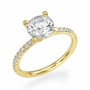Dazzling 18K Yellow Gold Round Cut Diamond Engagement Ring 0.90 CT F/SI1